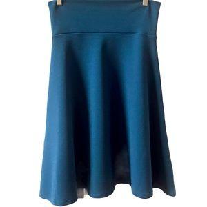 LuLaRoe Azure Solid Teal Skirt Medium